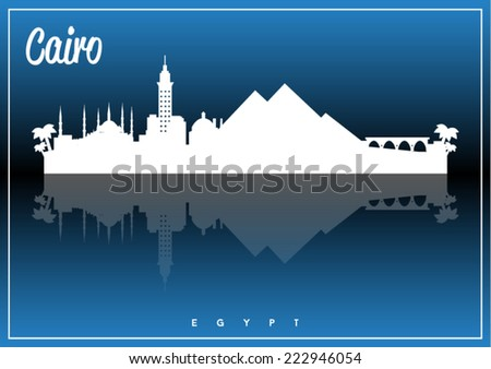 Cairo, Egypt skyline silhouette vector design on parliament blue and black background. - stock vector