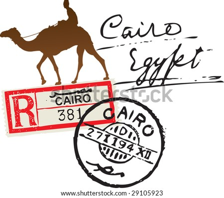 Cairo registered stamp - stock vector