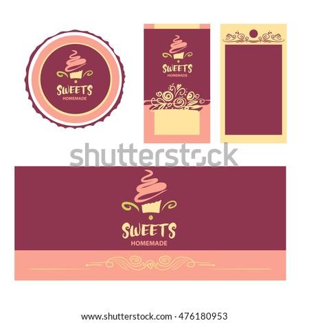 Cake sweet shop logo homemade dessert em vetor stock 476180953 cake and sweet shop logo homemade dessert element of design for corporate identity reheart Choice Image