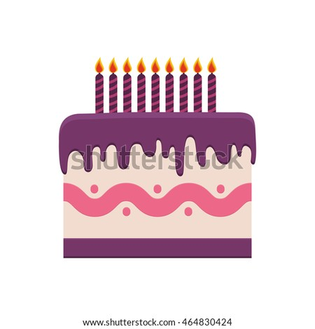 Cute Happy Birthday Card Cake Candles Stock Vector - Graphic birthday cake