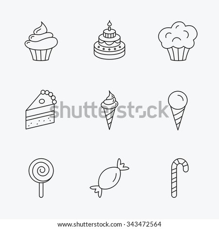 Cake, candy and muffin icons. Cupcake, ice cream and lolly pop linear signs. Piece of cake icon. Linear black icons on white background. - stock vector