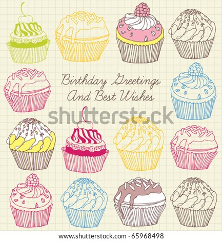 cake card - stock vector