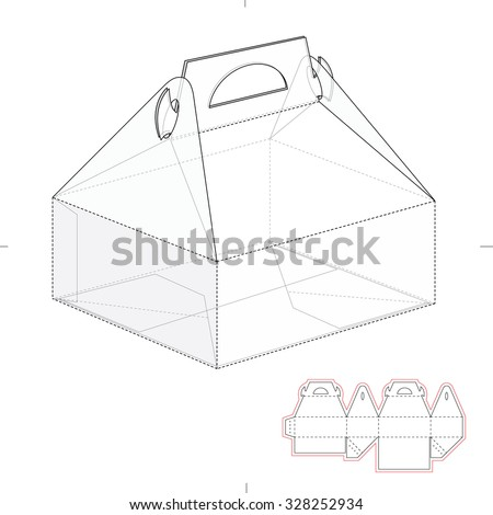 Cake Carrier Box with Die Line Template - stock vector