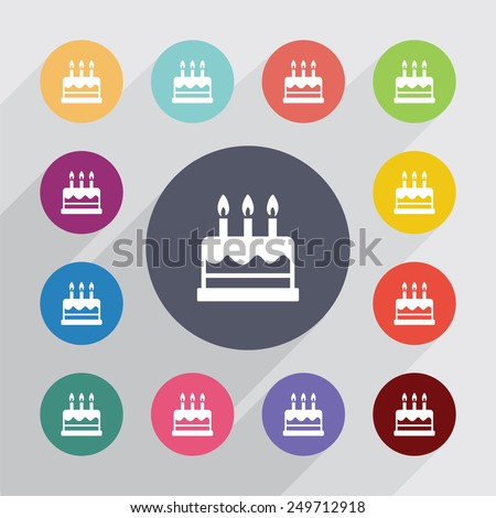 cake circle, flat icons set. Round colorful buttons  - stock vector