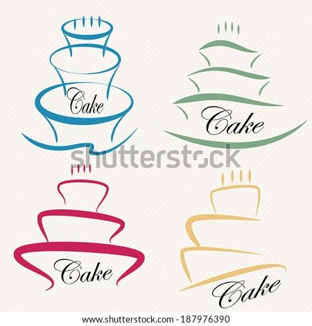Cake Design Symbol Set Stock Vector Royalty Free 187976390