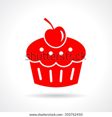Cake dessert icon on white background - stock vector