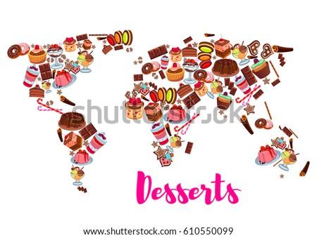 Cake desserts world map cake cupcake stock vector royalty free cake desserts world map cake cupcake chocolate fruit cream dessert donut gumiabroncs Images