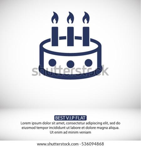 Birthday Cake Granite Icons Professional Pixelperfect Stock Vector