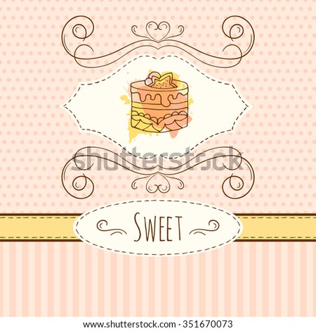 Cake illustration. Vector hand drawn card with watercolor splashes. Sweet polka dots and stripes design. Invitation card template. Wedding cakes with cream and berries.