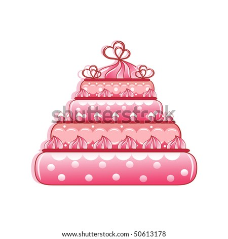 Cake. Isolated on the white. Vector illustration.