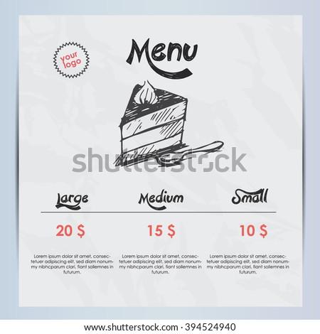 Cake menu - stock vector