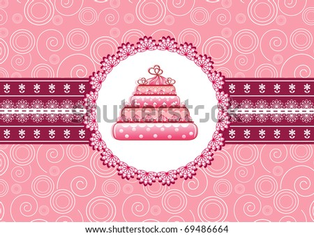 Cake on the doily. Vector illustration.