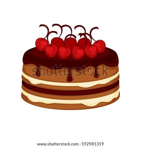 Cake Chocolate Brownie Torte Cherry Berry Stock Vector 2018