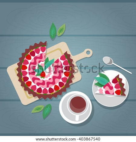 Cake Plate Cup Tea Coffee Wooden Textured Table Celebration Top Angle View Flat Vector Illustration - stock vector