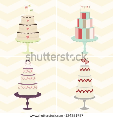 Cake Quartet: A foursome of trendy, whimsical cakes will add fun to your celebration design. Can be used together or individually. Fully editable vector illustration.