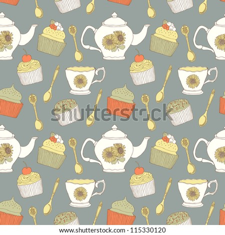 cake seamless pattern - stock vector