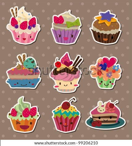 cake stickers - stock vector