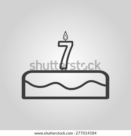 Cake with candles in the form of number 7 icon. birthday symbol. Flat Vector illustration - stock vector