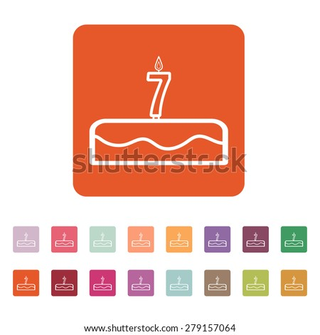 Cake with candles in the form of number 7 icon. birthday symbol. Flat Vector illustration. Button Set - stock vector