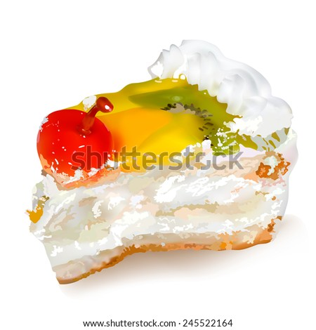 Cake with cherries and whipped cream. Illustration contains gradient meshes.  - stock vector