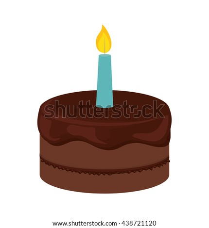 Cake with cream and candle design. Bakery icon. vector graphic