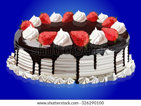 Cake with cream, strawberries and chocolate, vector illustration - stock vector