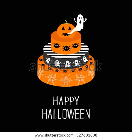 Cake with pumpkin, ghost, spider and web. Happy Halloween. Black background. Flat design. Vector illustration - stock vector