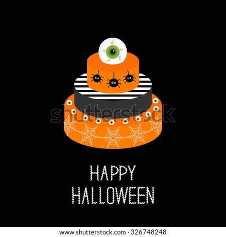 Cake with pumpkin, ghost, spider web and eyeballs. Happy Halloween. Black background. Flat design. Vector illustration - stock vector