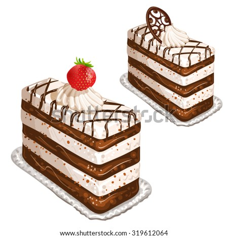Cake with strawberry - stock vector