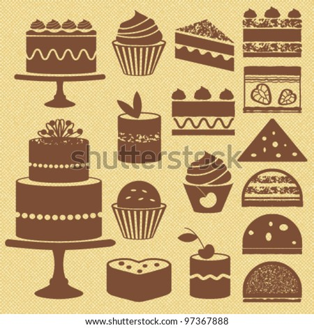 Cakes and cupcakes - stock vector
