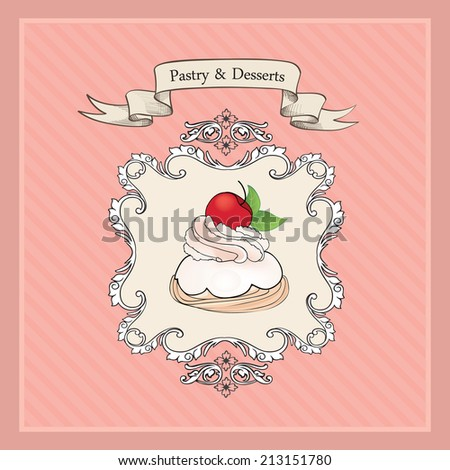 Cakes Background.  Bakery Retro Label. Sweets and Desserts Menu in Vintage Victorian Style. - stock vector