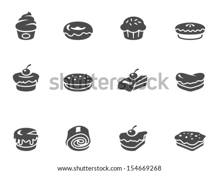 Cakes icons in black & white - stock vector
