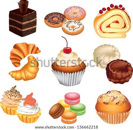 cakes photo-realistic vector set - stock vector