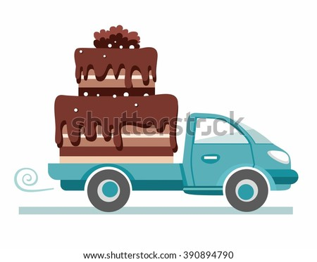 Cakes, shipping, vector image. The car carries the chocolate cake. Production and delivery of cakes. Color flat illustration on white background. Vector.  - stock vector
