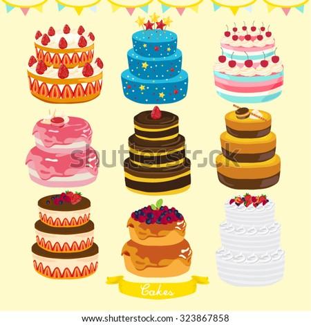 Cakes Vector Design Illustration - stock vector