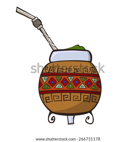 Calabash, decorated with ornaments, and Bombilla - a traditional set for drinking yerba mate. - stock vector