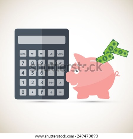 Calculate your savings - piggy bank with bills.EPS10 vector - stock vector