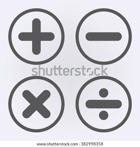 Calculation icon set in circle . Vector illustration