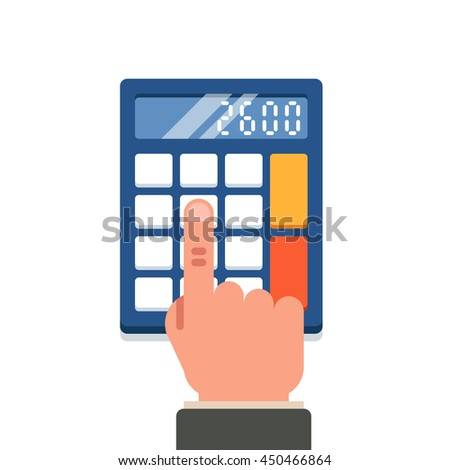 Calculation, mathematics, accountant concept. Vector flat illustration on white background - stock vector