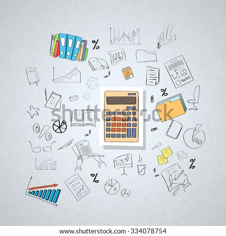 Calculator Accountant Business Doodle Hand Draw Sketch Concept Vector Illustration - stock vector