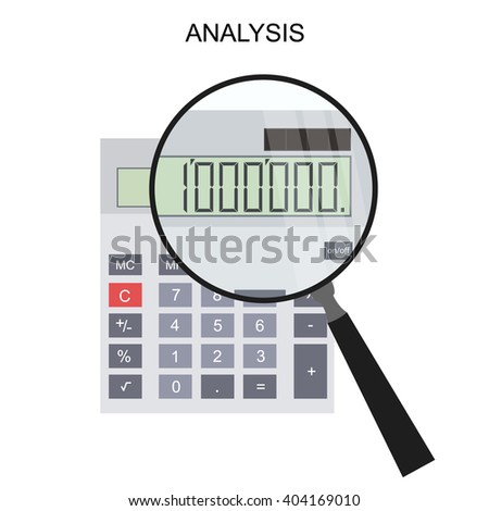 Calculator and magnifying glass. Flat style. Vector illustration.