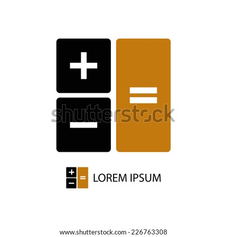 Calculator as logo with copyspace in black and orange colors - stock vector