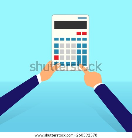 calculator business man accountant hand vector illustration - stock vector