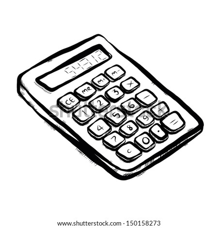calculator / cartoon vector and illustration, hand drawn, sketch style, isolated on white background.