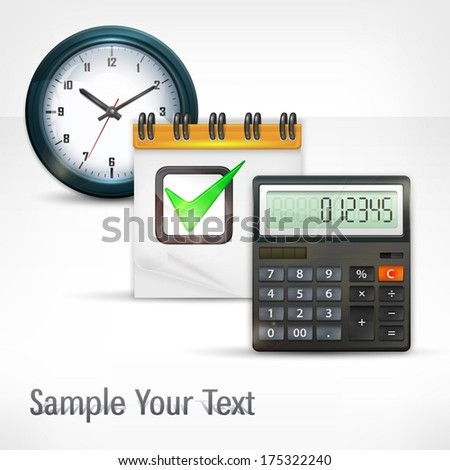 Calculator & clock with notepad and text, economical concept, vector illustration - stock vector