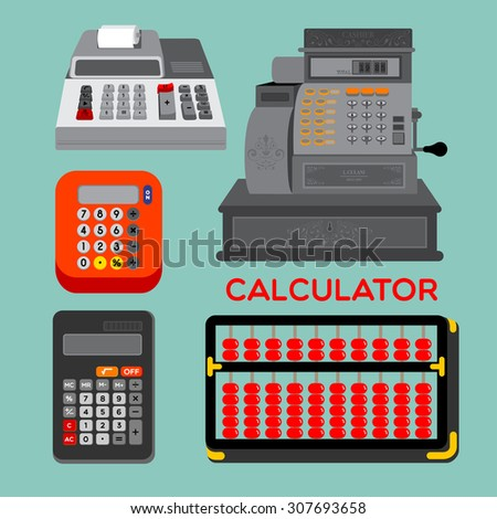 CALCULATOR Different types of calculators, abacus, electronic calculator or cash register displayed on the blue background. - stock vector