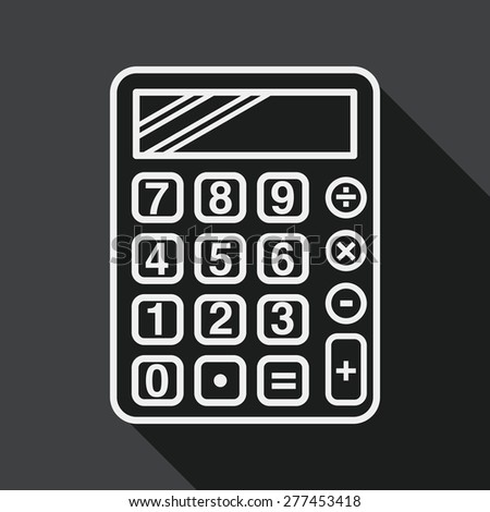 calculator flat icon with long shadow, line icon - stock vector