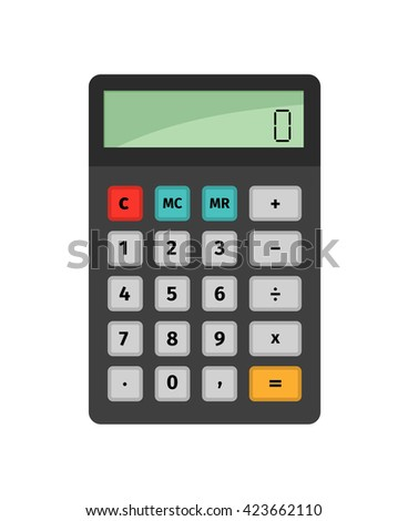 Calculator for making arithmetic operations - stock vector