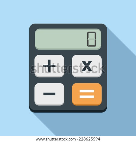 Calculator icon, flat design with long shadow, vector eps10 illustration - stock vector