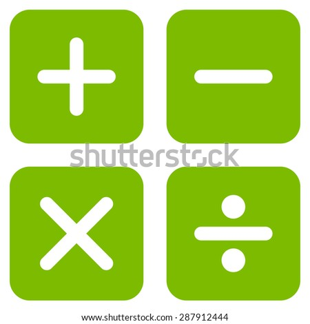 Calculator icon from Business Bicolor Set. This flat vector symbol uses eco green color, rounded angles, and isolated on a white background. - stock vector